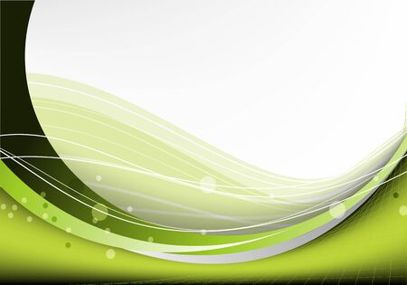 Bright green vector waves abstract background Ilustrace