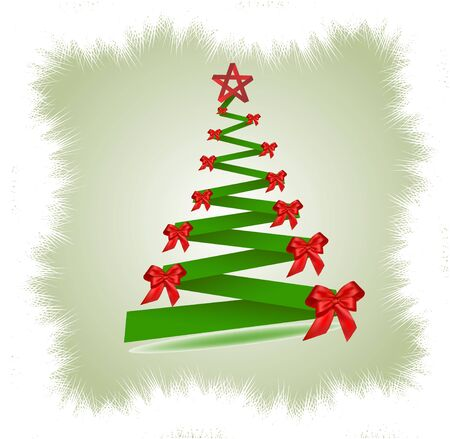 moños de navidad: abeto de Navidad con lazos rojos