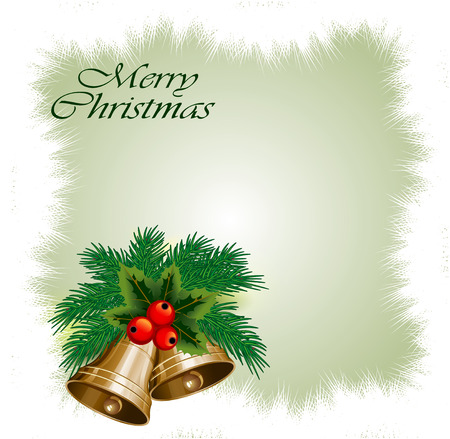 Christmas card with hand bells.