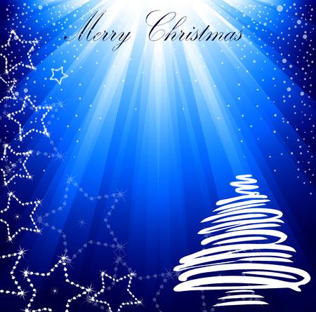 Christmas blue card with a fir-tree.