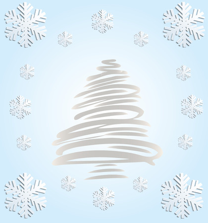 blizzards: Christmas blue card with a fir-tree.