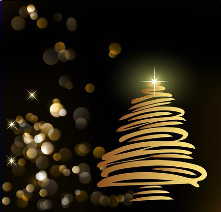 Christmas card with a fir-tree. Illustration