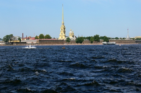 stronghold: View of fortress Peter and Paul from the river Neva Stock Photo