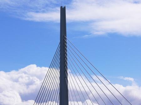 struts: pillar and struts of a suspension bridge