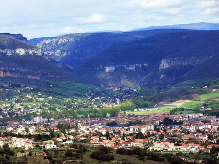 millau: Panoramic view of city of Millau and Tarn canyon, France
