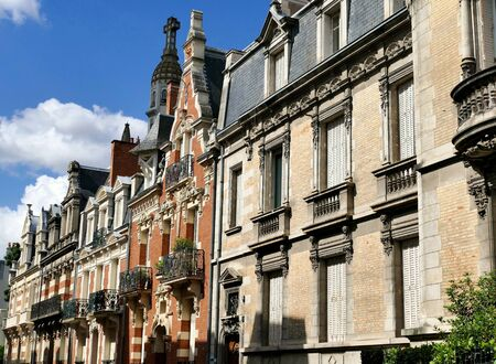 Neoclassical style houses in the city of Vichy, Allier, France Stock Photo