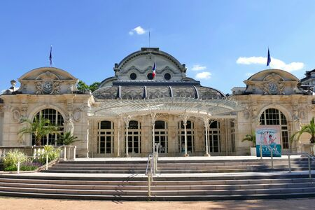 Former casino became the convention center of the city of Vichy, Allier, France. Inscription on the board in the foreground: Once upon a time, the queen of the spa towns