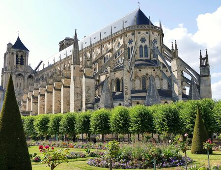 Rear view of Saint-Etienne cathedral in Bourges, Cher, France