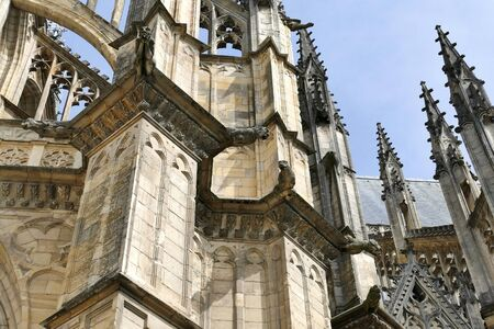 Gargoyles on the flying buttresses of the cathedral St. Croix in Orleans, Loiret, France