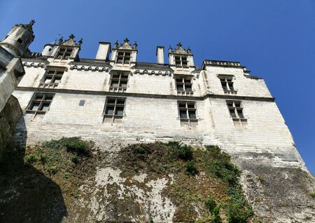 Facade of the residence of the Royal City of Loches built directly above the rock