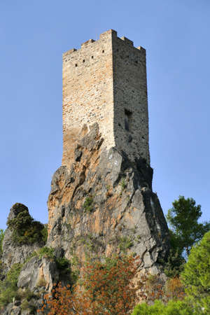The Carolingian watchtower dominating the village of Roquebrun