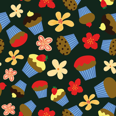 seamless vector pattern with few flavours of colorful cupcakes on dark background Ilustração