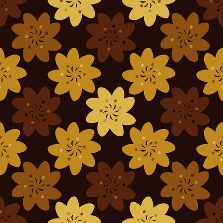 Seamless vector geometric pattern with flowers in autumn rusty yellows, and browns. Surface print design. Ilustração