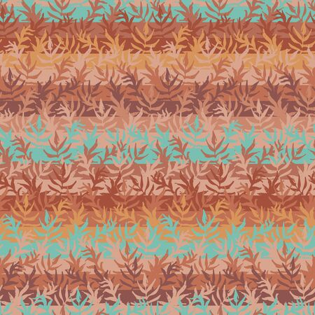 A seamless vector striped pattern background with leaves in copper colors. Surface print design. Illustration