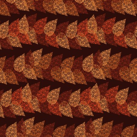 A seamless vector pattern with orange and red autumn leaves forming horizontal stripes on dark background. Surface print design. Illustration