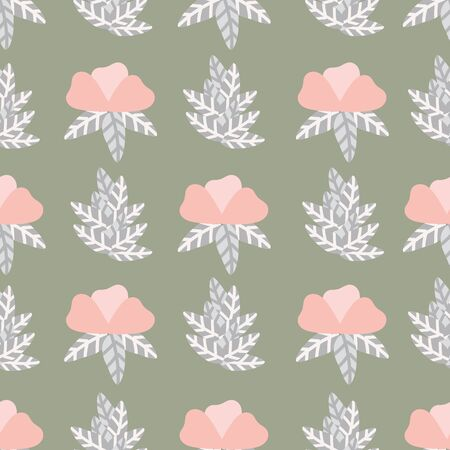 A simple floral seamless vector pattern in muted colors. Surface print design.