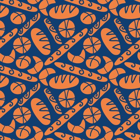 A seamless vector pattern with bread loafs and buns on dark blue backround. Surface print design.