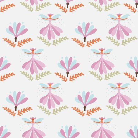 A seamless vector pattern with flower fairies in the garden. Surface print design. Great for children.