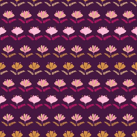 A seamless vector pattern with floral stripes in vivid pinks and purples. Surface print design. Illustration