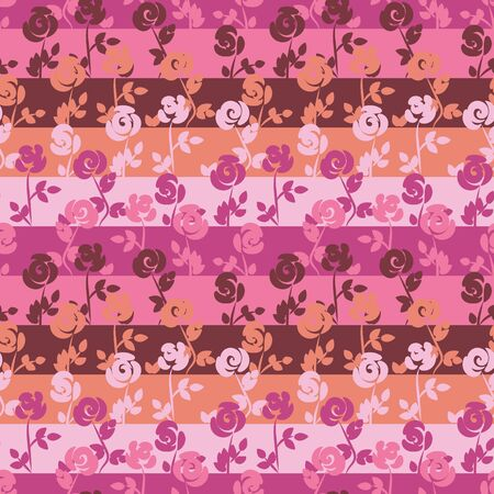 A seamless vector stripes pattern with rose flowers in shades of pink color. surface print design.
