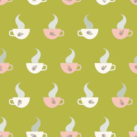 A seamless vector pattern with hot teacups and steam. Surface print design swatch. Foto de archivo - 128044210