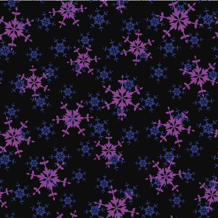 A seamless vector pattern with purple snowflakes on dark background. Surface print design.