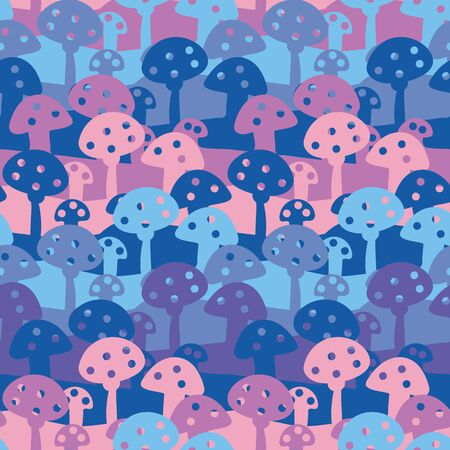 A seamless vector pattern with pink blue and purple toadstools. Surface print design.