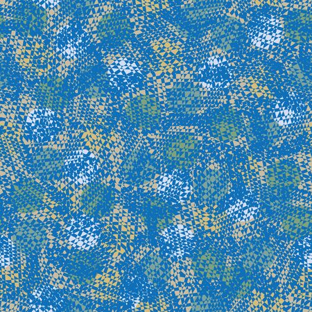 Un modello di pelle animale astratta vettoriale senza soluzione di continuità in colore blu. Design di stampa superficiale.