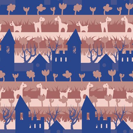 A seamless vector pattern with fairy tale castle animals and plants. Surface print design. Great for children.