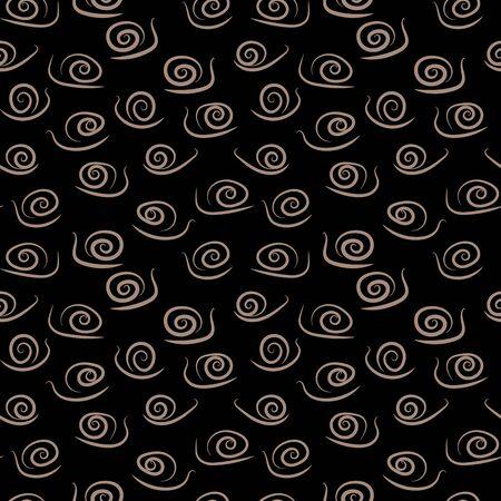 A seamless vector pattern with simple stylized snails on dark background. Surface print design. Illustration