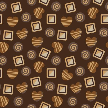 A seamless vector pattern with a variety o milkdar and white chocolate pralines. Surace print design.