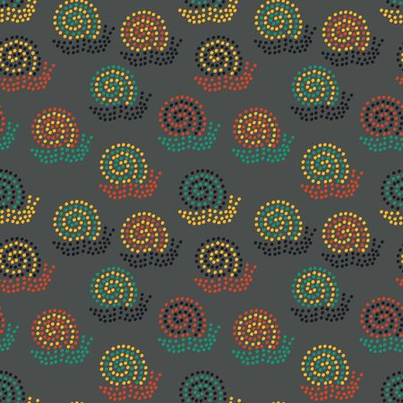 A seamless vector pattern with colorful dotted snails on a dark background. Surface print design. Illusztráció
