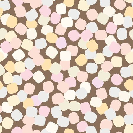 A seamless vector pattern with pastel colored marshmallows scattered on brown background. Surface print design. Ilustração