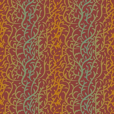 A seamless vector striped pattern with rust and teal colored branches and leaves. Surface print design.