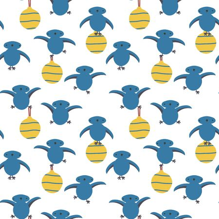 A seamless vector pattern with cute blue birds holding yellow christmas baubles. Surace print design.