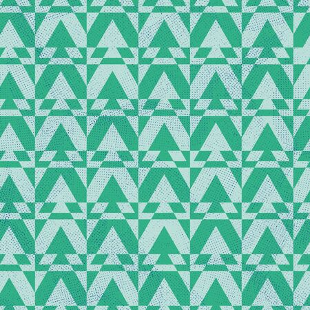 A seamless vector geometric pattern with triangular spruce trees. Surface print design. Stock Illustratie
