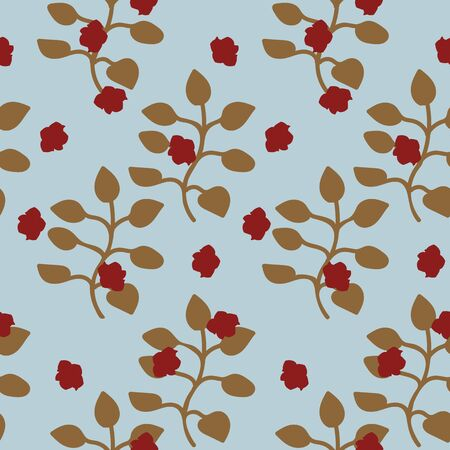 A seamless vector vintage pattern with branches of roses on pale blue background. Surface print design.