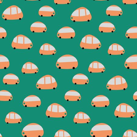 A seamless vector pattern with cute orange cars on a green background. Surface print design.