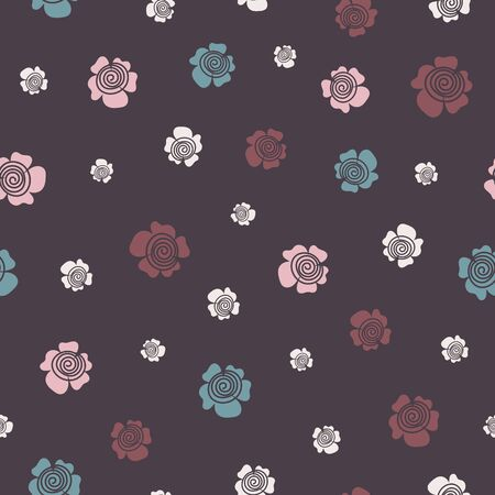 A seamless vector pattern with simple flowers sccattered on a dark background. Surface print design.