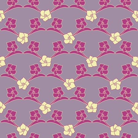 A seamless vector pattern with simple purple colored daffodil flowers in a geometric layout. Surface print design.