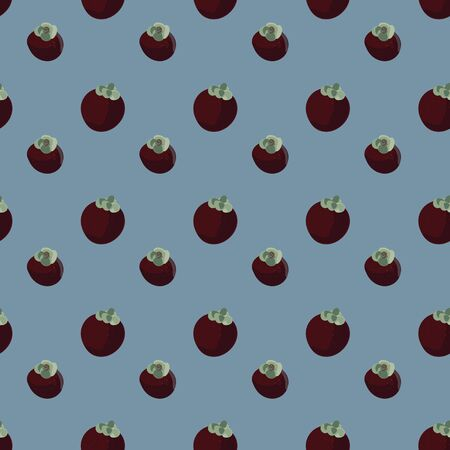 A seamless vector pattern with whole mangosteen fruits on a blue background. Surface print design.