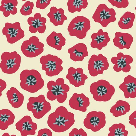 A seamless vector pattern with red poppy seads scattered on a light background. Surface print design.