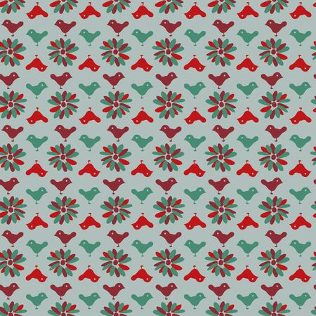 A seamless vector folk christmas pattern with simple flowers and bird silhouettes. Surface print design. Illustration