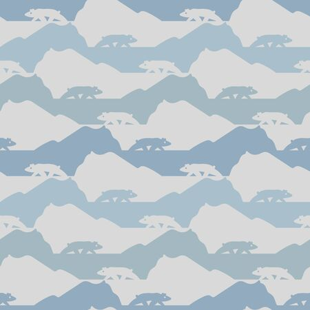 A seamless vector striped pattern with artic landscape and polar bears silhouettes. Surface print design. Illustration