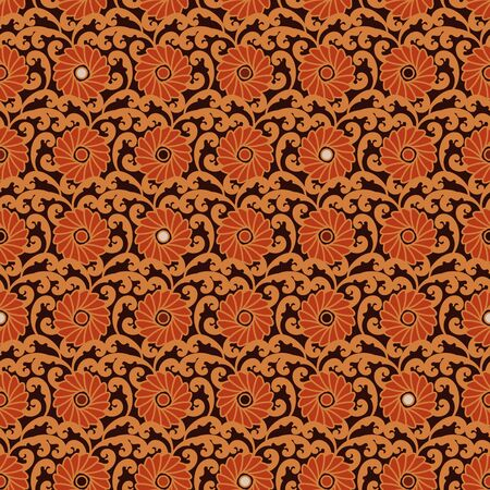 A seamless vector ornamental pattern with orange flowers and leaves. Surface print design. Illustration