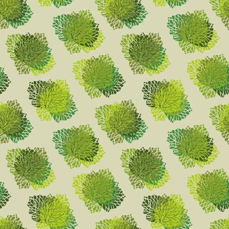 A seamless vector pattern with lettuce and cabbage heads. Surface print design. Illustration