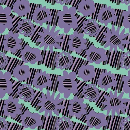 A seamless vector striped purple pattern with simple floral shapes. Surface print design. Illustration