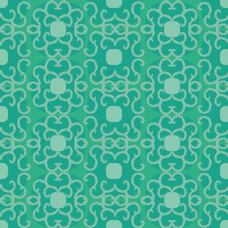 A seamless vector pattern with geometric and botanical motifs in jade green. Surface print design.