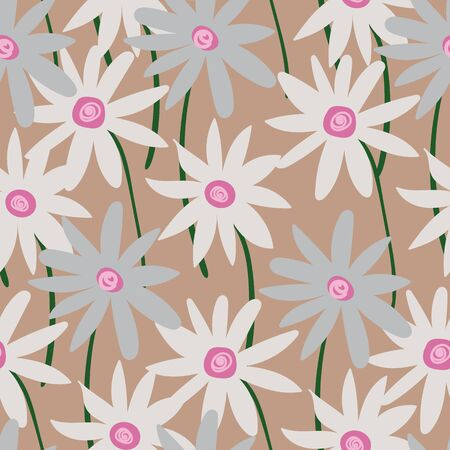 A seamless vector pattern with chamomile flowers on beige background. Surface print design. Illustration