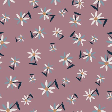 A seamless vector pattern with tossed simple flowers. Surface print design.  イラスト・ベクター素材